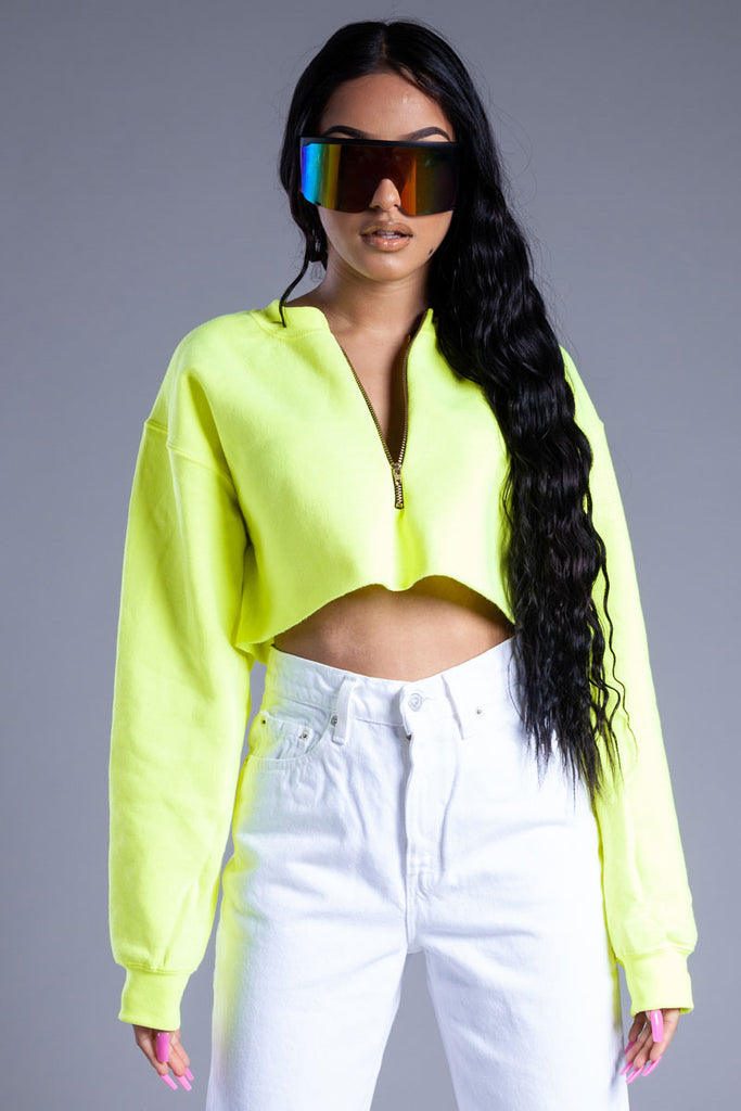 NEON GREEN ZIPPER CROP