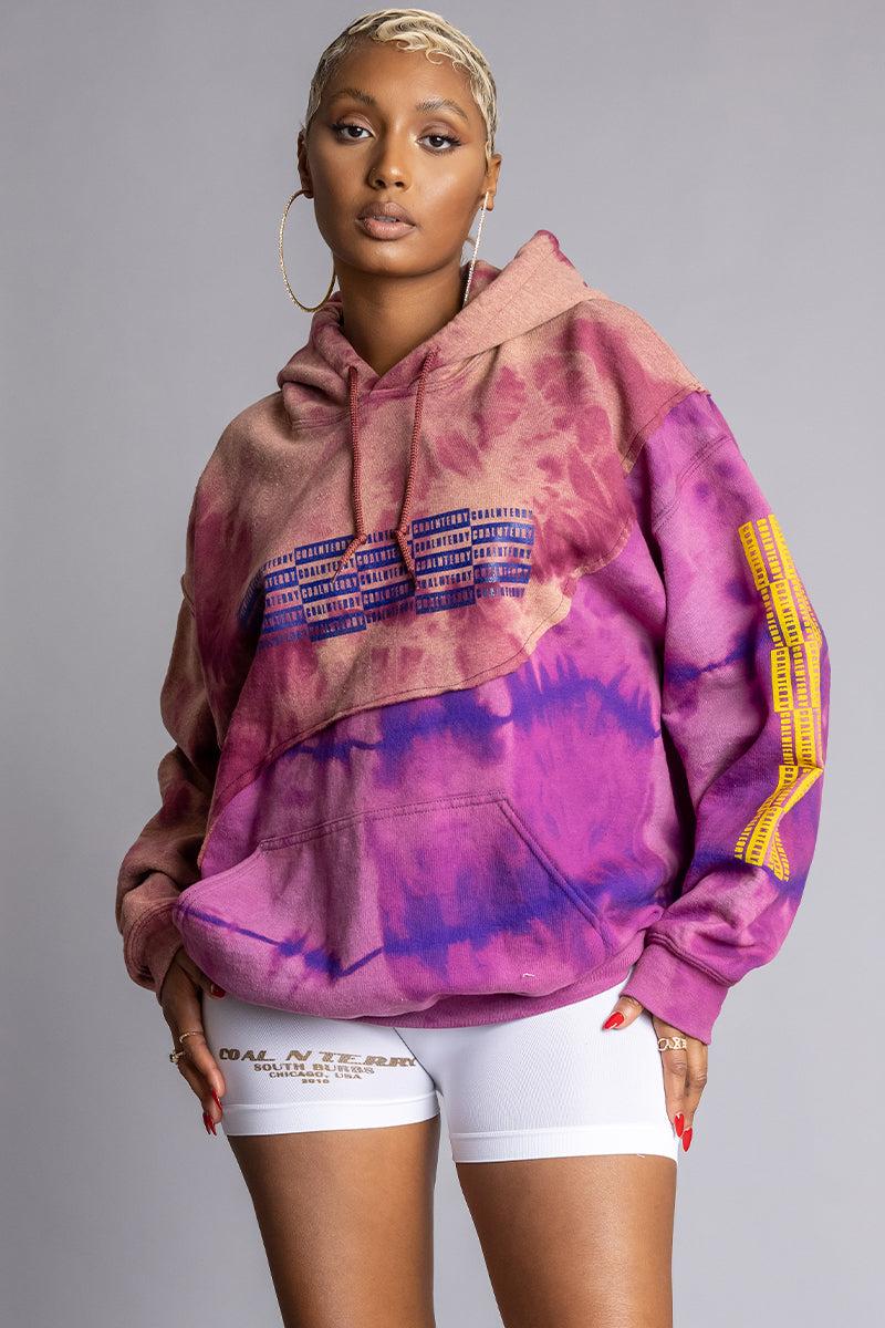 PURPLE DYED CHECKER PATCHWORK HOODIE