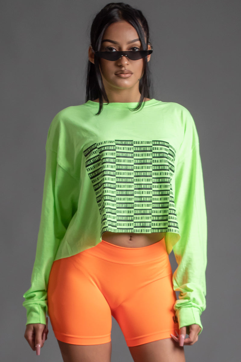 NEON GREEN N BLK FULL CHECKER LONG SLEEVE CROP TEE