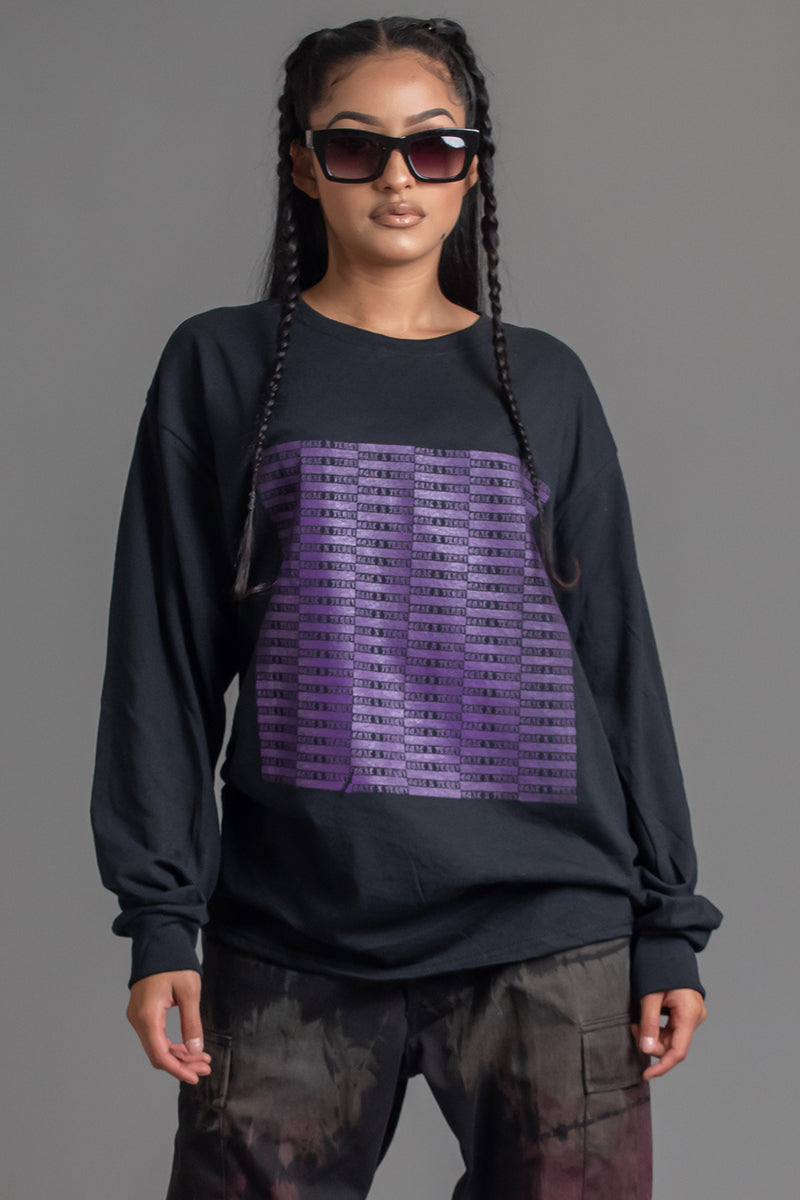 BLK N PURPLE FULL CHECKER LONG SLEEVE TEE