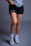 BLK N WHITE MINI MEDI BIKER SHORTS