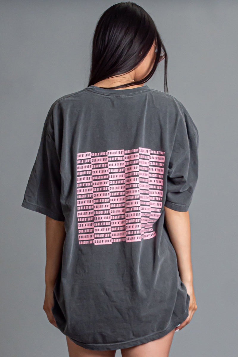 DARK GREY N PINK CHECKER TEE
