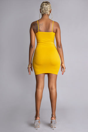 MUSTARD N BLK CNT BAR DRESS