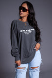 LONG SLEEVE DARK GREY N WHITE BURBS TEE