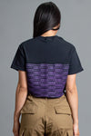 BLK N  PURPLE CHECKER CROP TEE