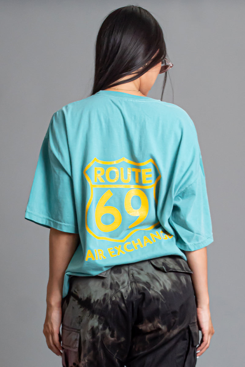 AQUA N YELLOW ROUTE TEE