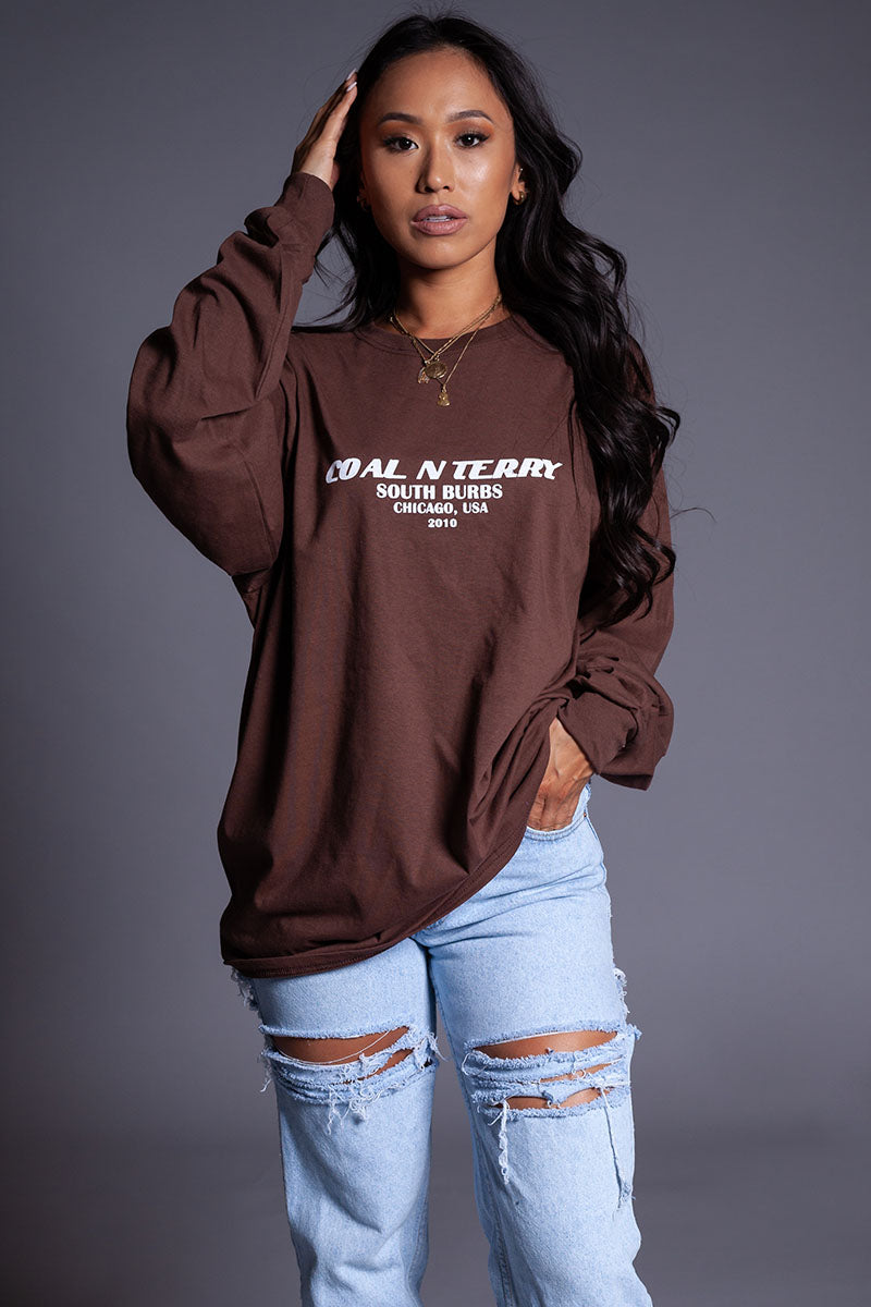 LONG SLEEVE CHOCOLATE N WHITE BURBS TEE