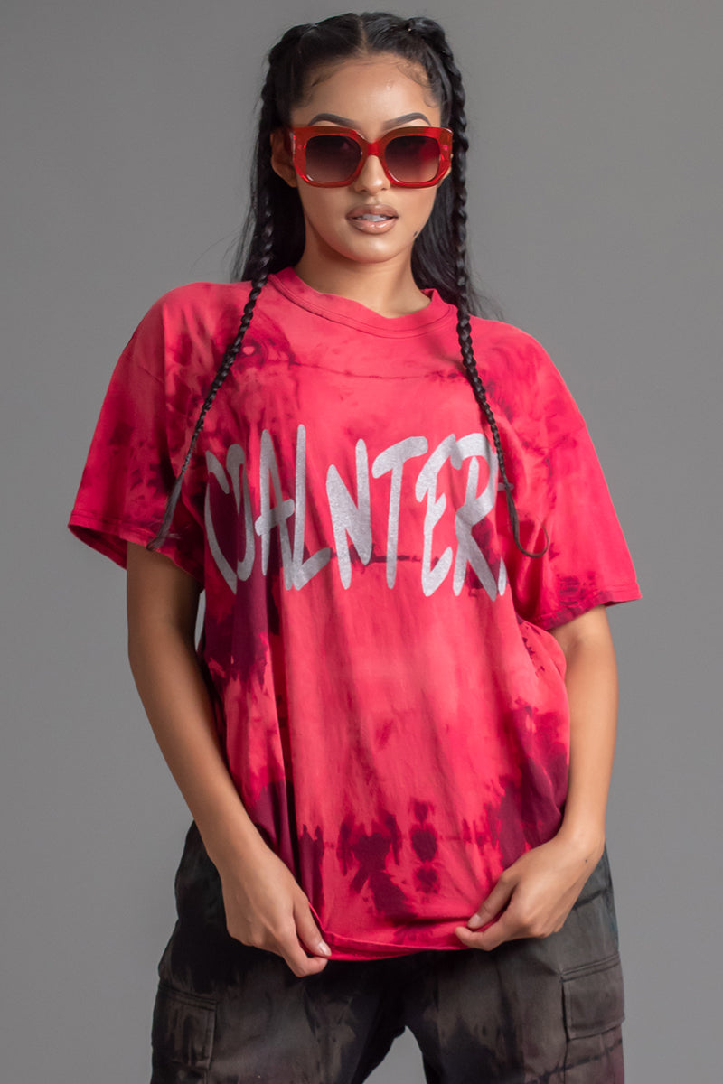 BERRY DYED N SILVER CNT OVERLAY TEE