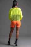 NEON YELLOW N BLK FULL CHECKER LONG SLEEVE CROP TEE