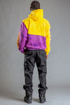 GUYS PURPLE DYED N YELLOW TRAPBAR PATCHWORK HOODIE