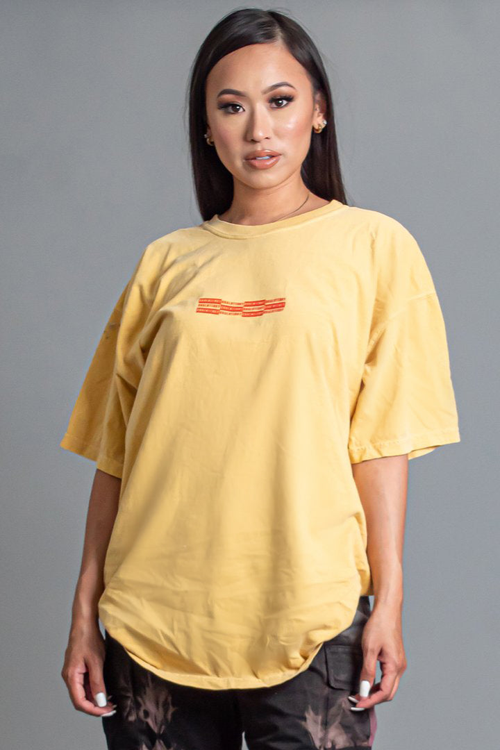 MUSTARD N ORANGE MINI CHECKER TEE