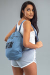 BLUE N BLK SPRAY BOOK BAG