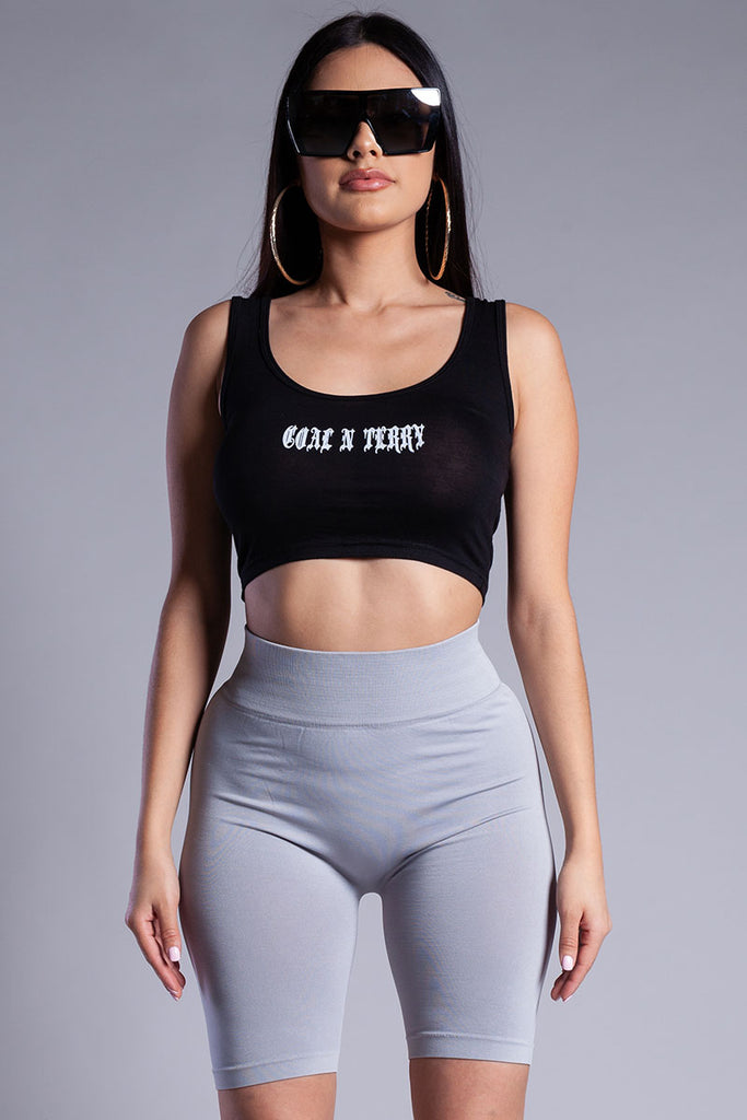 BLK N WHITE MINI MEDI CROP TANK