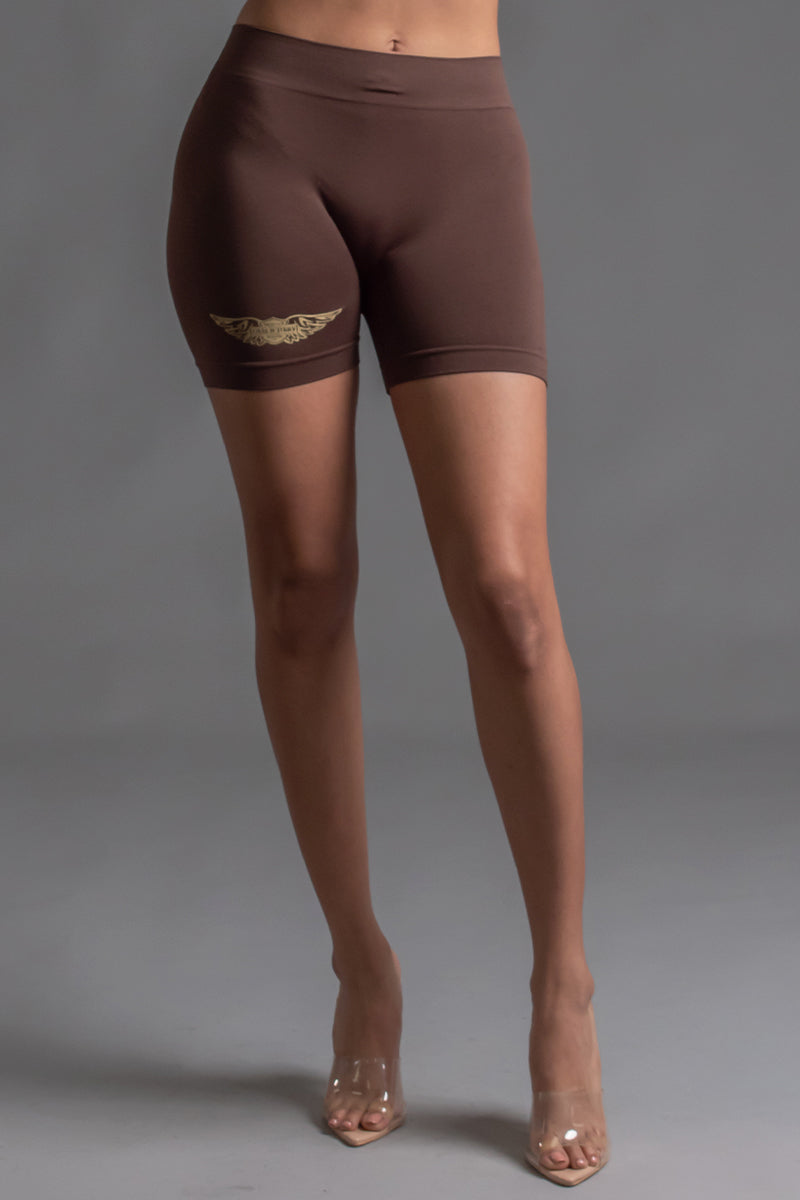 ANGELS CLUB BIKER SHORTS - CHOCOLATE N GOLD