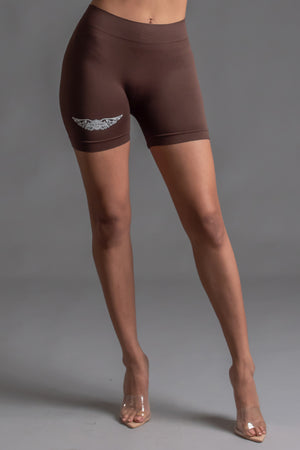 ANGELS CLUB BIKER SHORTS - CHOCOLATE N WHITE