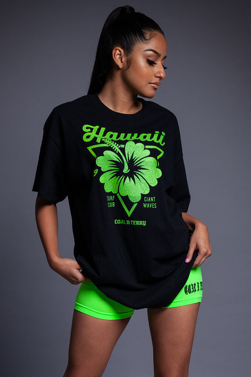 BLK N GREEN HAWAII TEE