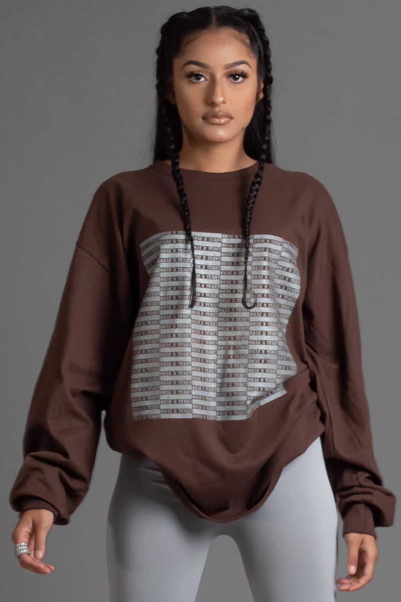 CHOCOLATE N SILVER FULL CHECKER LONG SLEEVE TEE