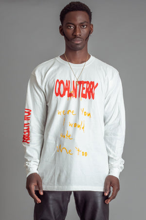 GUYS LONG SLEEVE WHITE HATE ME TEE