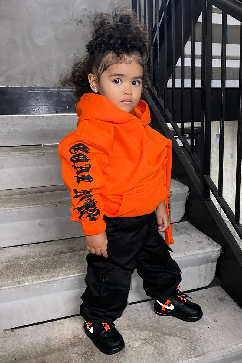KIDS ORANGE N BLK TRAP HOODIE
