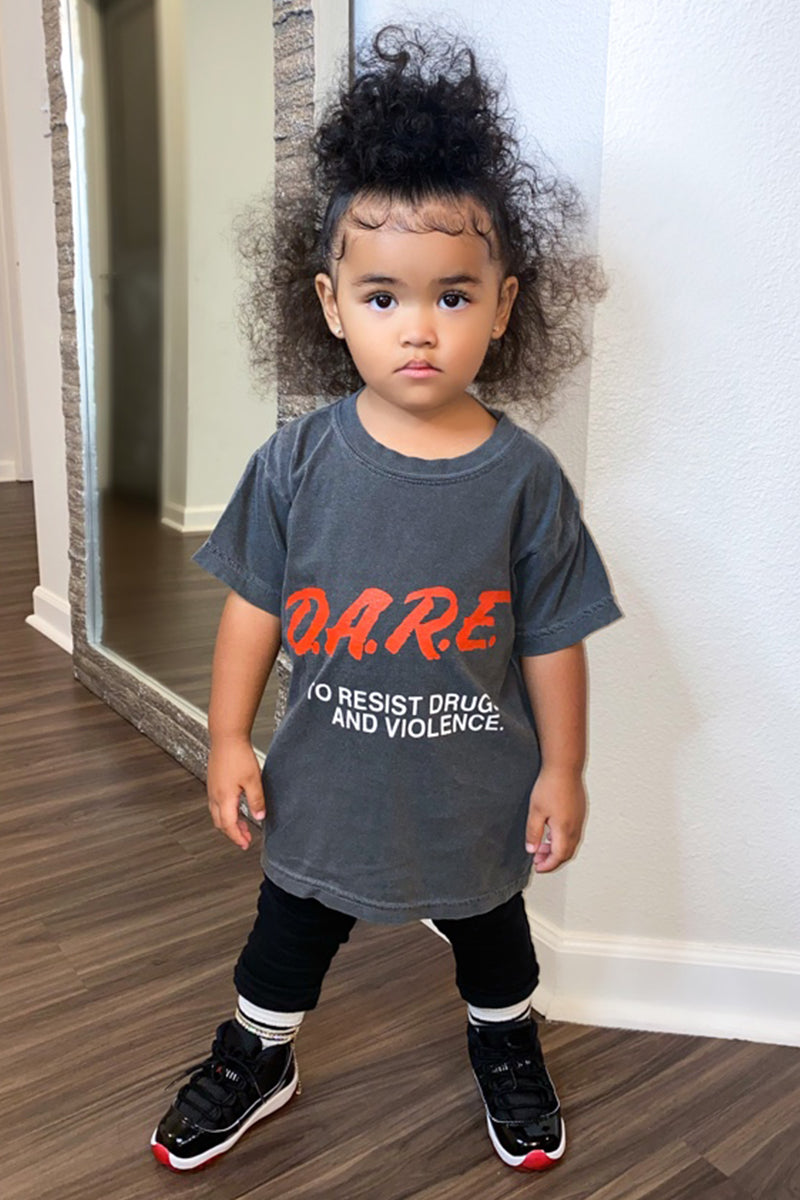 KIDS GREY N RED DARE TEE