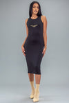 BLK N GOLD BURBS DRESS