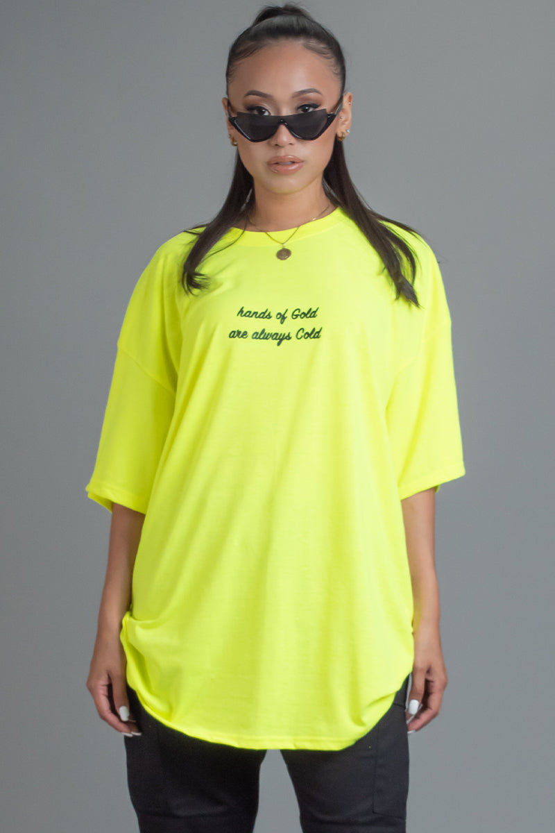 NEON GREEN N BLK HANDS OF GOLD TEE