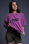 PURPLE N BLK BAR TEE