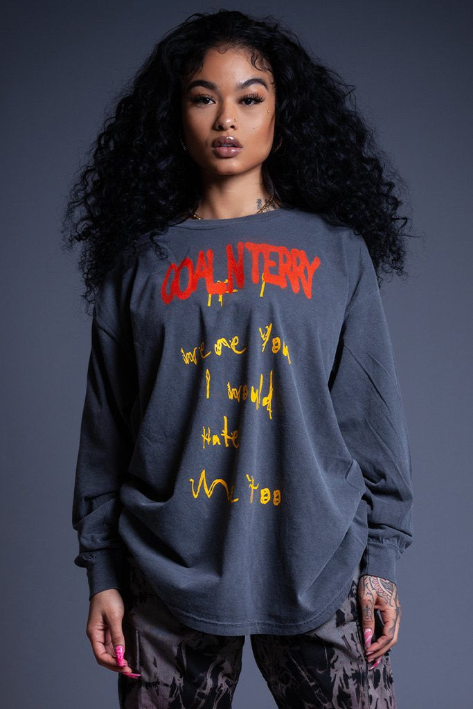 LONG SLEEVE GREY HATE ME TEE