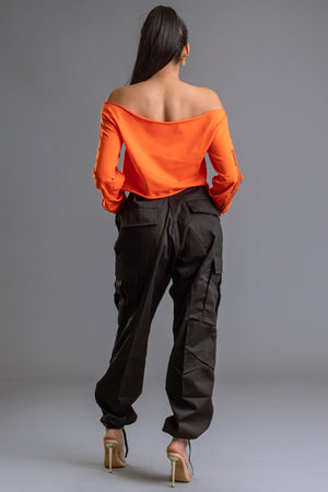 LONG SLEEVE ORANGE N BLK BAR SHOULDER TEE