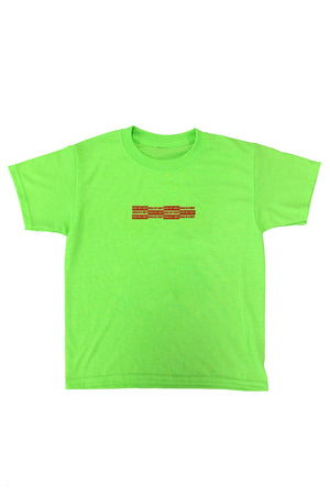 KIDS NEON GREEN N RED MINI CHECKER TEE