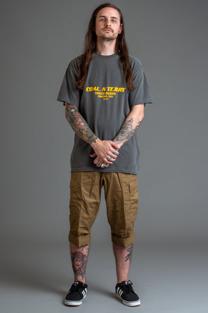 DARK GREY N YELLOW BURBS TEE