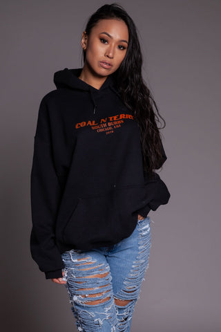 ORANGE N BLK MINI MEDI CROPPED HOODIE