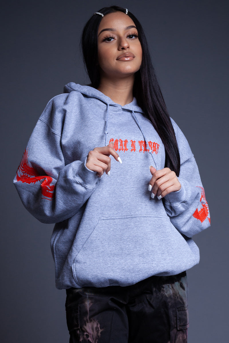 GREY N ORANGE MINI MEDI DRAGON HOODIE