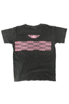 DARK GREY N PINK MEDI CHECKER TEE