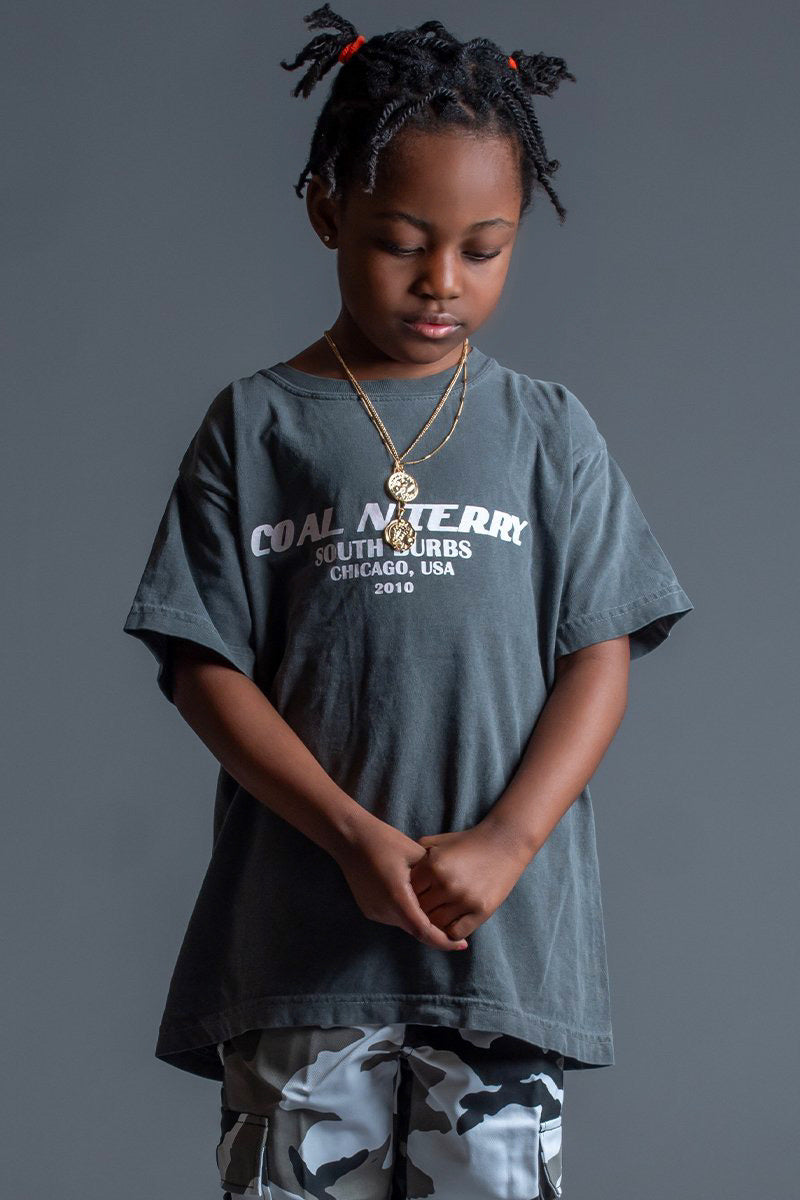 KIDS DARK GREY N WHITE BURBS TEE