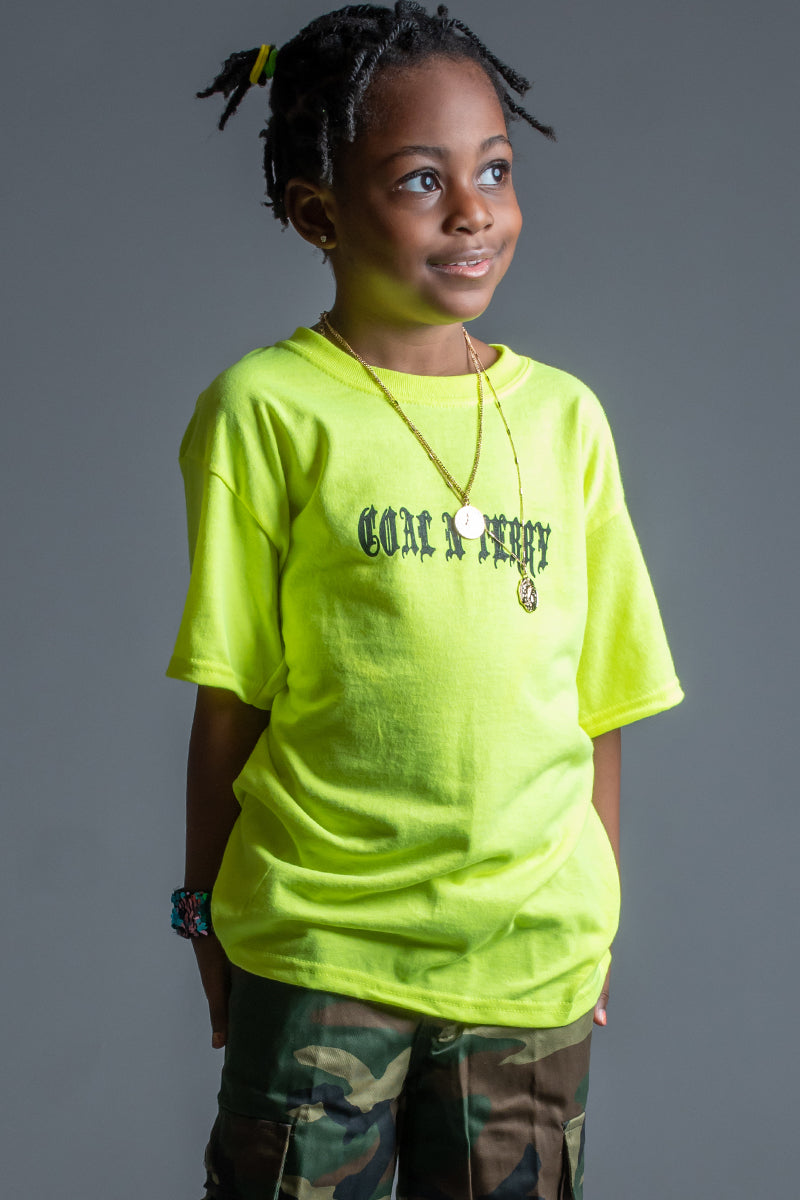 KIDS NEON GREEN N BLK MINI MEDI TEE