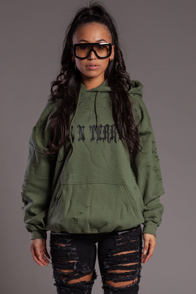 Khaki N Black Trap Distressed Hoodie