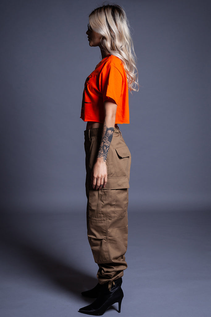 ORANGE FTB CROP TEE