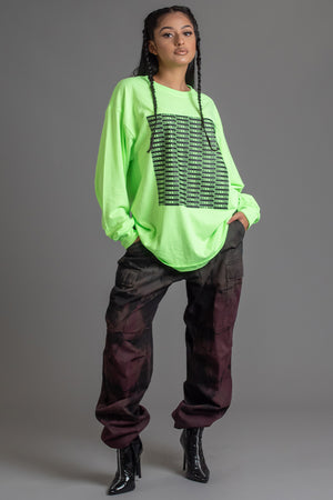 NEON GREEN N BLK FULL CHECKER LONG SLEEVE TEE