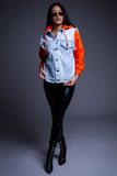 ORANGE DENIM VEST HOODIE