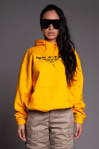 Chocolate N Yellow Back Medi Hoodie