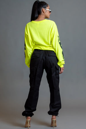 LONG SLEEVE NEON GREEN N BLK MINI MEDI DRAGON TEE