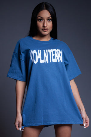 BLUE N WHITE SPRAY CNT TEE