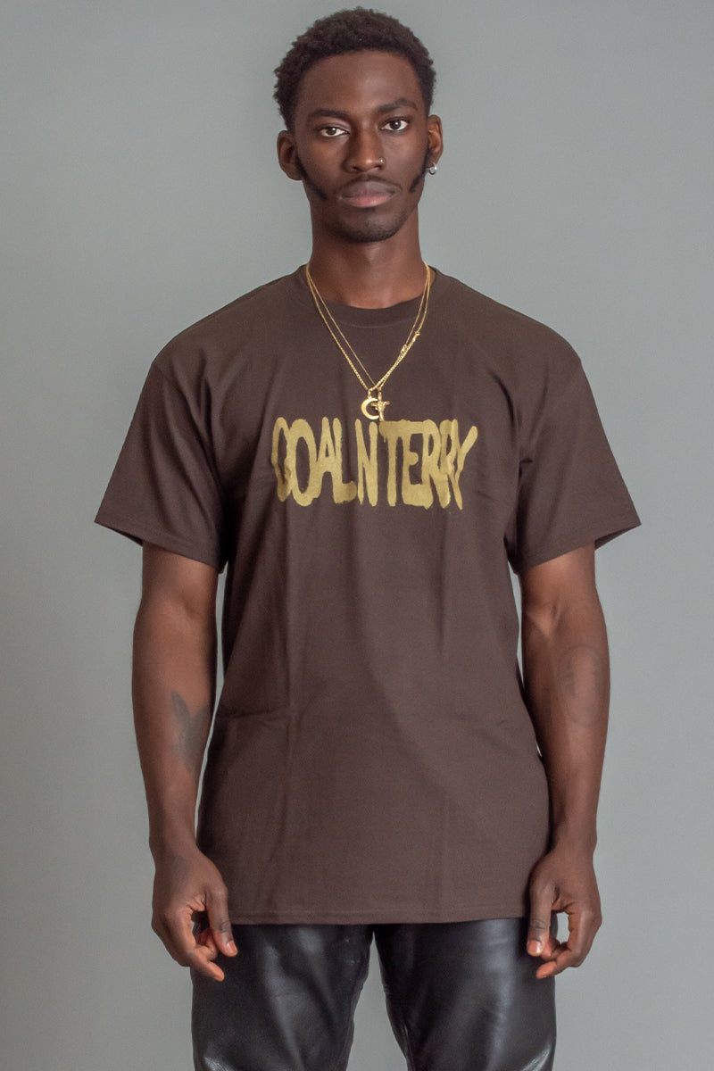 GUYS CHOCOLATE N GOLD SPRAY TEE