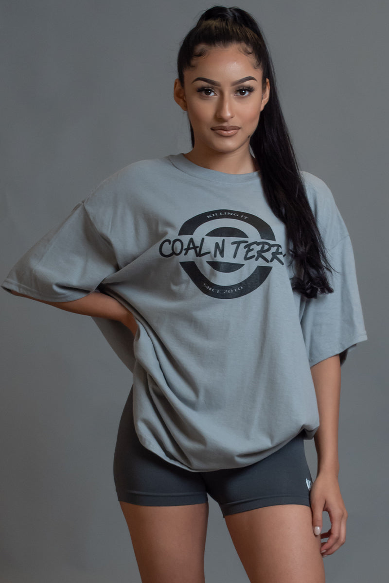 LIGHT GREY N BLK KILLING IT TEE