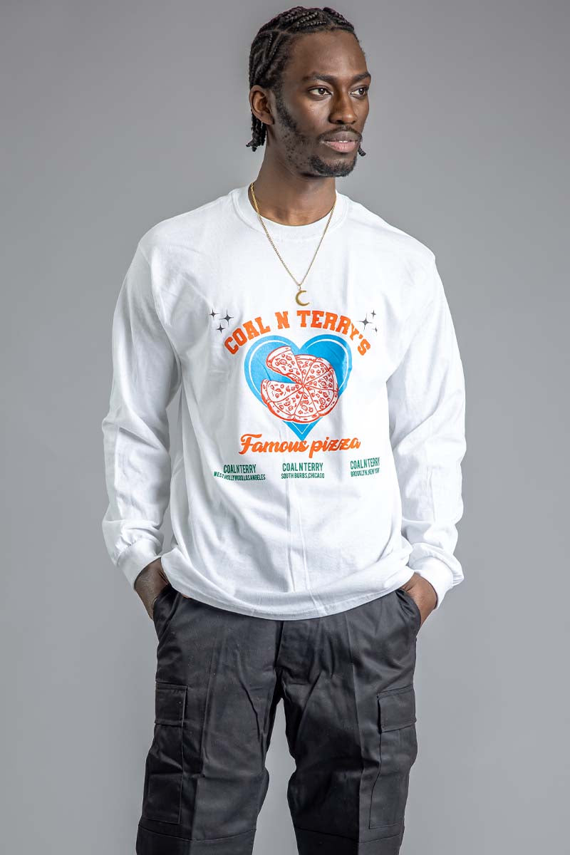 GUYS WHITE FAMOUS PIZZA LONG SLEEVE TEE