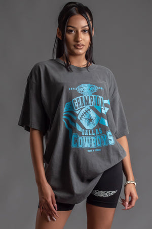 DARK GREY N BLUE COWBOYS CHAMP TEE