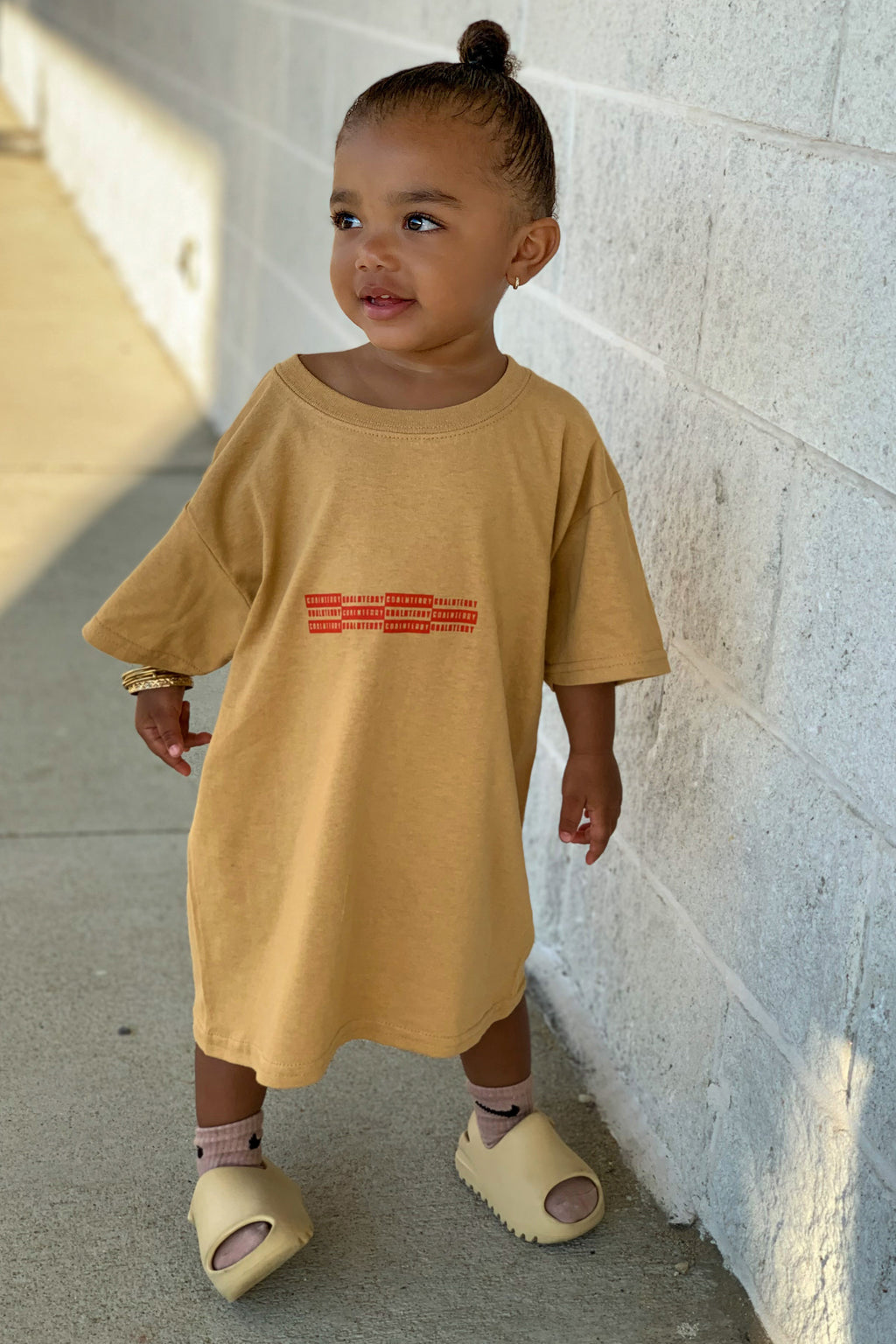 KIDS MUSTARD N ORANGE MINI CHECKER TEE
