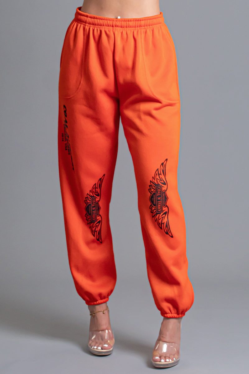 ORANGE N BLK ANGELS CLUB JOGGER