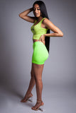 MINI MEDI BIKER SHORTS - NEON GREEN N BLK